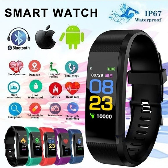 115Plus Bracelet Heart Rate Blood Pressure Smart Band Fitness Tracker Smartband Bluetooth Wristband for fitbits Smart Watch  MartLion