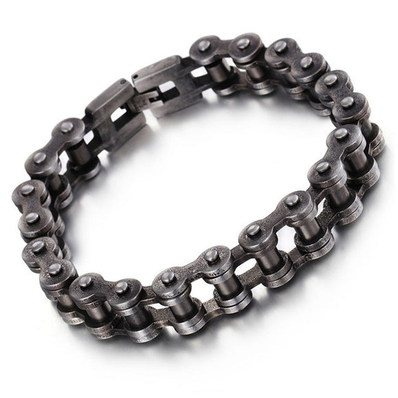 12.5mm Wide Vintage Cool 316L Stainless Steel Brushed Black Motor Bike Chain Jewelry Men's Boy's Bracelet Bangle 9inch(23cm) Hot - Mart Lion  Best shopping website