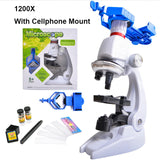 1200X Children Toy Biological Microscope Set Gift Monocular Microscope with Mount Biological Experiment Tool f/ Primary Student  MartLion.com