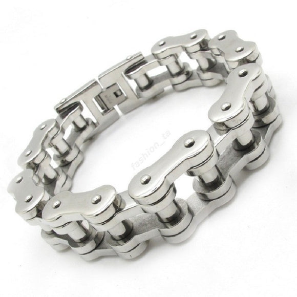 14.5MM Gothic Men's Motor Bicycle Motorcycle Chain Bangle Bracelet, 316L Stainless Steel Huge Heavy Gold Silver Fashion Bracelet - Mart Lion  Best shopping website