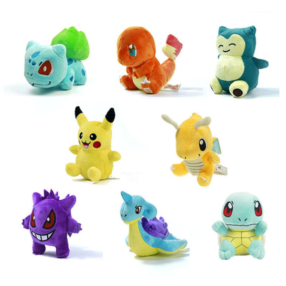 15 style Mini  Figure Plush Doll Toy   Charmander Gengar Bulbasaur Suicune Dragonite Snorlax Figure Toy Gift  MartLion