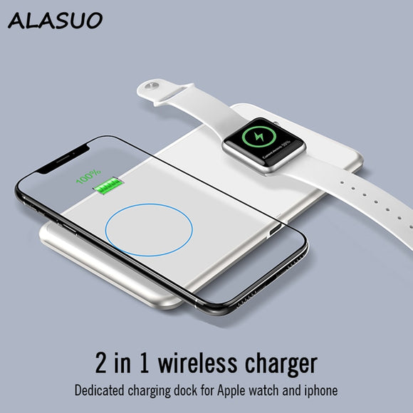 15W QI wireless charger For iPhone Samsung 2 in 1 Wireless Charger for iPhone Watch 2 3 4 5 charger for airpods  MartLion.com