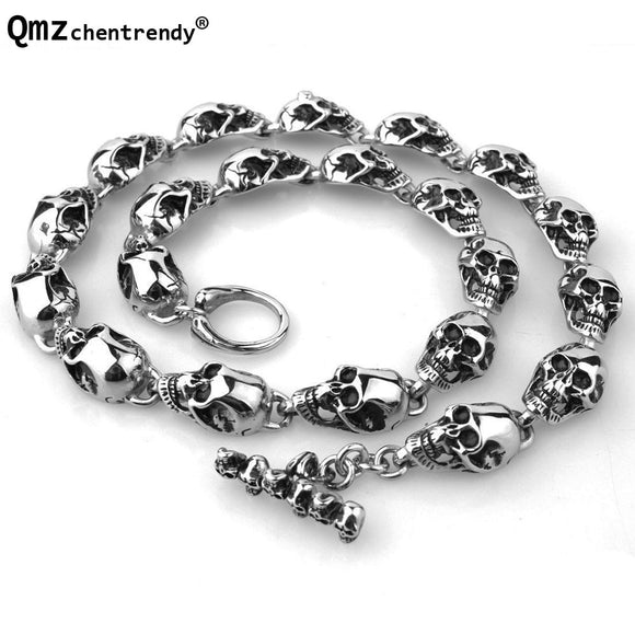 15m Punk Heavy Men's Personality Crack Skull  Chain Necklace Rock Motor biker 316L Stainless Steel Skeleton Ghost Necklace - Mart Lion  Best shopping website