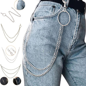 1Layer/2Layer/3Layer Rock Punk Hook Trousers Pant Waist Link Belt Chain Metal Wallet Silver Chain Fashion Jewelry  MartLion
