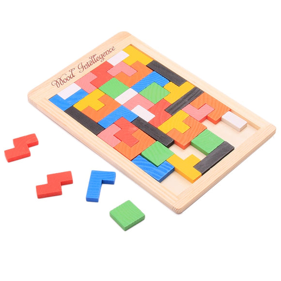 1PC Woonden Colorful Tangram Puzzle Toys Brain Tetris Jigsaw Toys Game Preschool Intelligence Children Early Educational Kid Toy