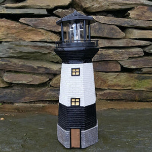 1PCS Black Solar Rotary Lighthouse Lamp For Yard Path Lawn Garden Patio Villa Decorative Lantern Solar Powered Decorative Light  MartLion
