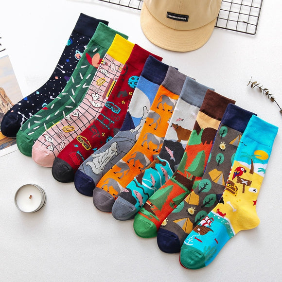1Pair Male Crew Socks Men Casual Socks Cotton Unique Cartoon Animal Funny Cute Cool Unisex Socks Mid Length Asymmetric Stocking - Mart Lion  Best shopping website