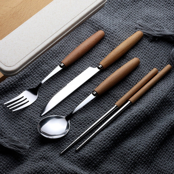 Portable Wooden Handle Dinnerware Set Stainless Steel Plated Silver Knife Fork Tableware Cutlery with Plastic Box