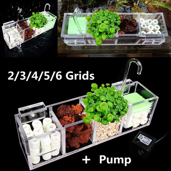2-6 Grids Acrylic Aquarium Fish Tank Filter Box Water Pump External Hanging Water Purifier Aquatic Pet Cage Filters Accessories - Mart Lion  Best shopping website