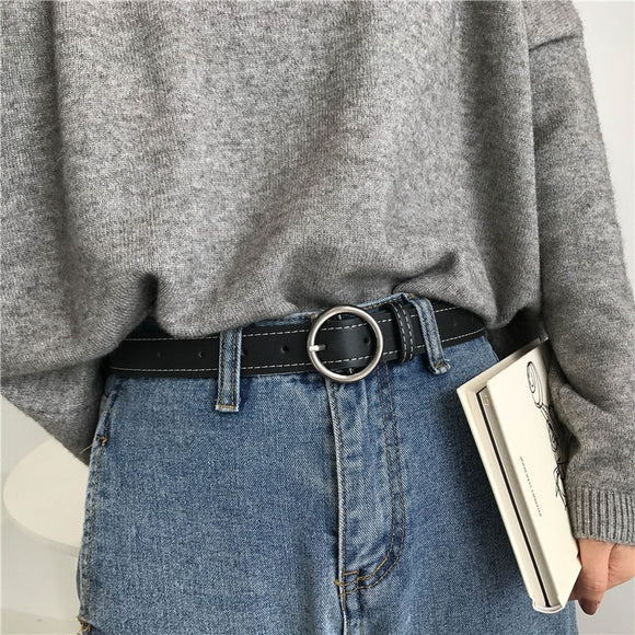 2 Colors Mihoshop Ulzzang Korean Korea Women Fashion Accessories Chic Vintage Black Ring Leather Belts - Mart Lion  Best shopping website