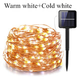 200/300/400 led solar LED Light Waterproof LED Copper Wire String Holiday Outdoor led strip Christmas Party Wedding Decoration  MartLion