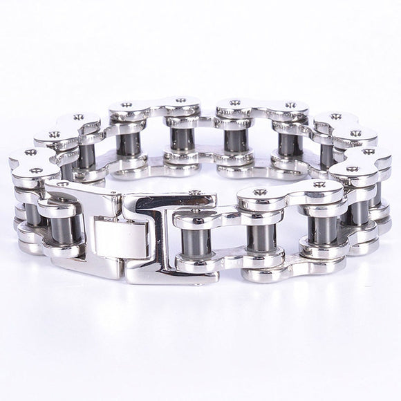 200G Heavy 316L Stainless Steel Silver Black Tone Bicycle Motor Bike Chain Mens Boy Bracelet Bangle 9