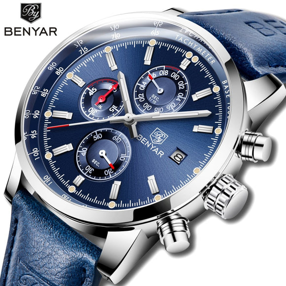 2018 BENYAR Watches Men Luxury Brand Quartz Chronograph Watch Fashion Sport Automatic Date Leather Men's Clock Relogio Masculino  MartLion.com