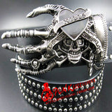 2018 Fashion men Punk belt skull street dance full rivet belts heavy metal rock belt Hip hop nightclub skull belt personality  MartLion