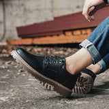 2018 Men Casual Leather Shoes Men Martins Leather Shoes Work Safety Shoes Winter Waterproof Ankle Botas  MartLion