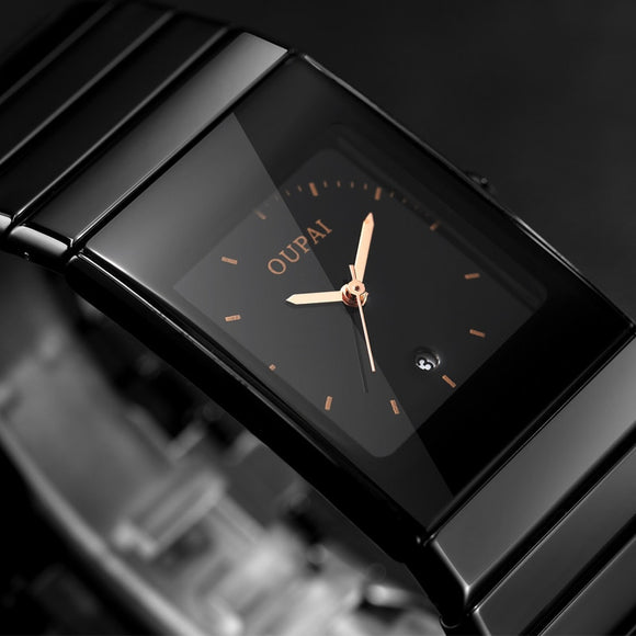 2018 New Fashion Simple Men Watch Waterproof Luminous Casual Quartz Watche Men Rectangle Black Ceramic Wristwatch Zegarki Meskie  MartLion.com