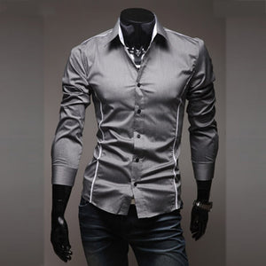 2018 New Mens Casual Shirts Slim Fit Long Sleeve Gray Male Striped Shirts Camisa Social Clothes Chemise Homme Plus Size M-3XL 50  MartLion