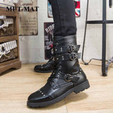 2019 Autumn Man And Women Martin Boots British Style Brock Carved Handsome Women Boots Rock Metal Buckle Motorcycle Male Shoes  MartLion