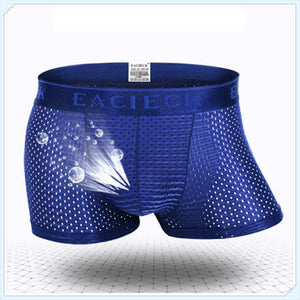 2019 Breathable Ice Silk Solid Men Cool Underpant U Convex Design Underwear Mesh Sexy Boxer Trunks Low Waist Sport Hot  MartLion