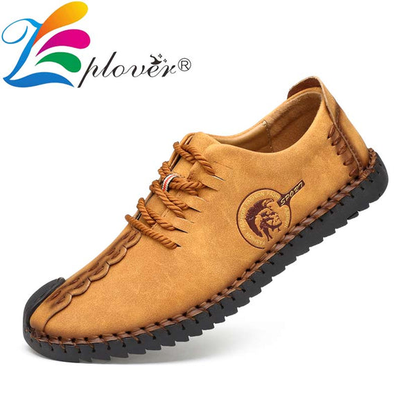 2019 Classic Men Casual Shoes Men Loafers Split Leather Shoes Men Flats Handmade Lace-up Hot Sale Moccasins Shoes Big Size  MartLion