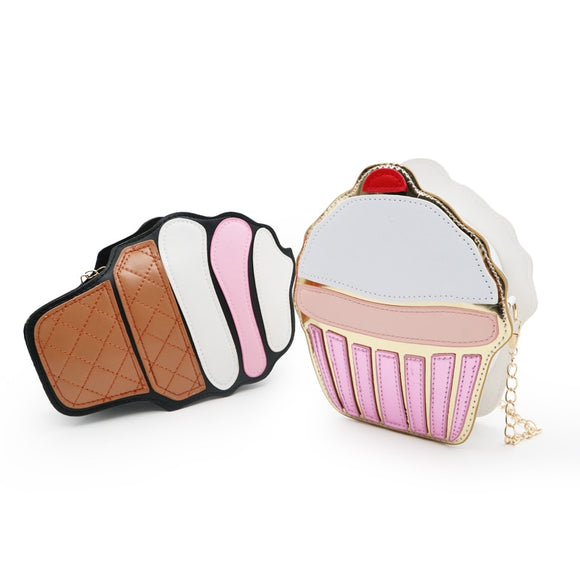 2019 Cute Ice Cream Cupcake Women Bag PU Leather Small Chain Clutch Girl Messenger Crossbody Shoulder Bags Female Purse Handbags