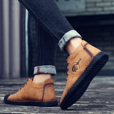2019 Fashion Warm Fur Plush Men Boots Split Leather Wterproof Ankle Snow Boots Lace-Up Rubber Outdoor Winter Shoes Plus size 48  MartLion