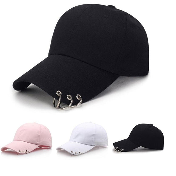 2019 Hot Women Cap Fashion GDBaseball Cap with Rings Snapback Cap Men Women black pink white Hip Hop Hat Dance Show Hats Cap Men - Mart Lion  Best shopping website