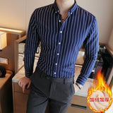 2019 Men Casual Shirt Winter Warm Long Sleeve Shirts with thick Velvet Men's brand quality dress Male Stripe Slim Fit Shirts  MartLion
