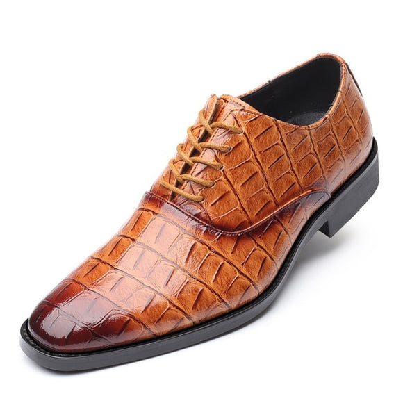 2019 Men Formal Shoes Office Social Designer Men's Crocodile Genuine Leather Wedding Luxury Elegant Male Business Dress Shoes