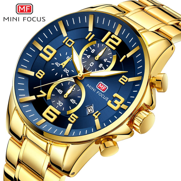 2019 NEW FASHION Royal Golden Blue Men's Quartz Watch Top Brand Luxury Man Chronograph Watch 3 Dial Sports MINI FOCUS Wristwatch  MartLion.com