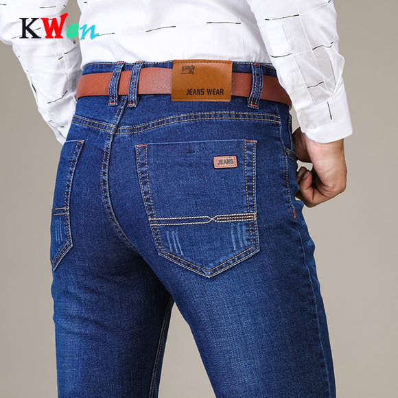 2019 New Brand Men's Fashion Business Casual Stretch Slim Classic Trousers Denim Pants Male Plus size skinny men Jeans - Mart Lion  Best shopping website