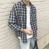 2019 New Cotton Korean Style Clothe Fashion Streetwear Spring Summer Autumn Thin Oversize Plaid Men Shirt Long Sleeve  MartLion