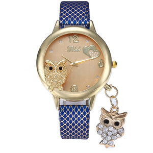 2019 New Fashion Wrist Watches Lady Owl Charm Diamond Watch Women Snakeskin PU Gold Buckle Clock Rhinestone Watch for Women  MartLion
