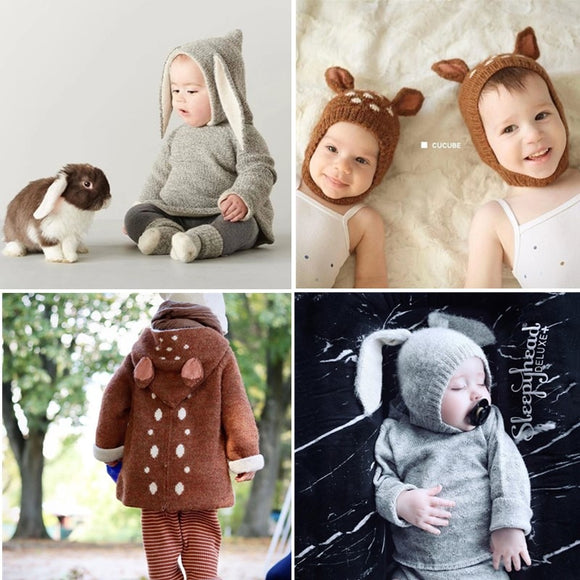 2019 Oeuf Baby Wool Knit Sweaters Lovely Sheep and Fawn Sweater Children Toddler Boys Girls Winter Quality Brand Clothes and Hat