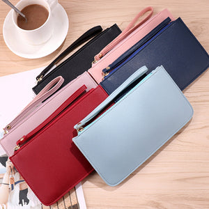2019 Simple Designer Zipper Women Leather Slim Wallet Female Purse Clutch Thin Wristlet Phone Coin Credit Card Holder Dollar  MartLion