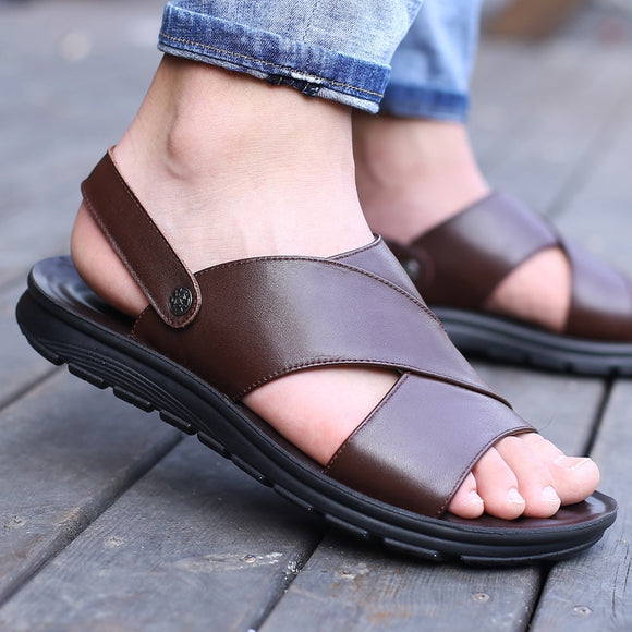 2019 Summer Men Sandals Genuine Leather Summer Shoes Men Beach Sandals Flat Cow Leather Male Black Sandal KA1094  MartLion