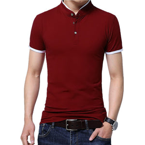 2019 Summer stand collar two buttons short sleeve polo shirt men fashion slim simple urban contrast color cotton breathable Tops  MartLion.com