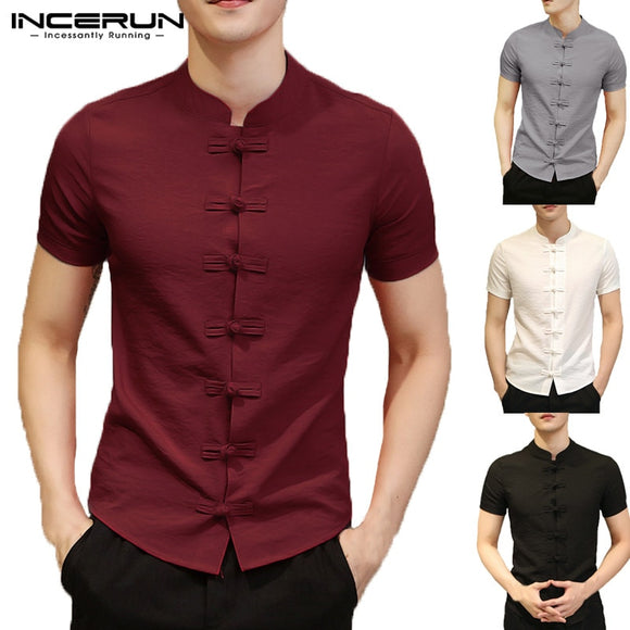 2019 Vintage Mens Shirts Dress Short Sleeve Button Down Slim Fit Summer Chinese Style Tee Tops Male Clothing Camisas Masculina  MartLion