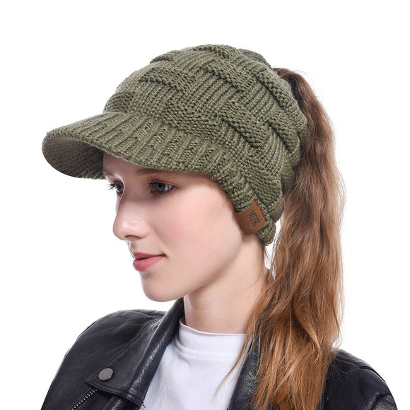 womens cheap beanie hats autumn winter warm hat  rear opening tail Knitting  MartLion