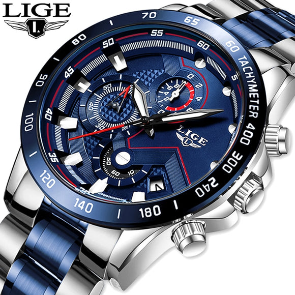 2020 LIGE Mens Watches Mens Business Analogue Clock Fashion Stainless Steel Sports Waterproof Luminous Watch Men Relojes Hombre  MartLion.com