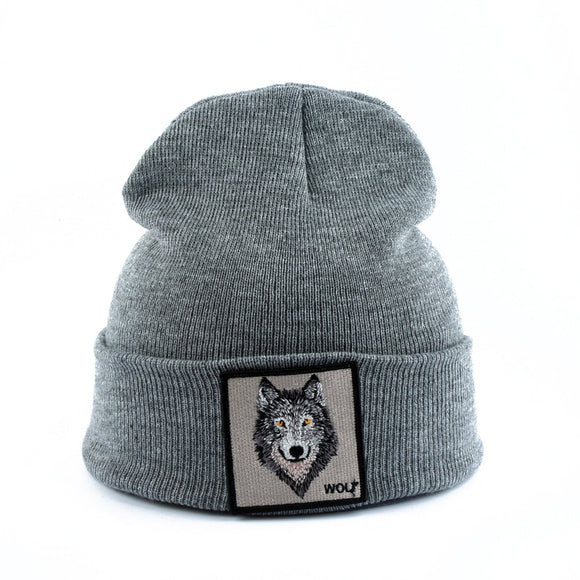 2020 New Fashion Mens Beanie Animal Wolf Embroidery Winter Hats Knitted Beanies For Men Streetwear Hip hop Skullies Bonnet  MartLion
