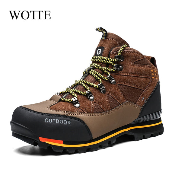 2020 New Men Boots High Top Winter Suede Boots Rubber Combat Ankle Work Safety Shoes Waterproof Mountain Outdoor Sneakers