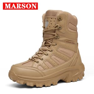 2020 New Men Military Tactical Boots Special Force Leather Waterproof Desert Combat Ankle Boot Army Work Men's Shoes Plus Size  MartLion