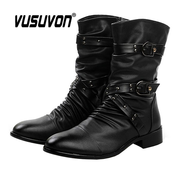 2020 New Mens Boots Autumn Winter Fashion Rivet British Mid Calf Motorcycle Punk Boots Men Pointy Knight Martin Boots
