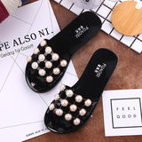 2020 Summer Slippers Women Fashion Pearl Flip-Flops Flat Ladies Beach Black Slippers  MartLion