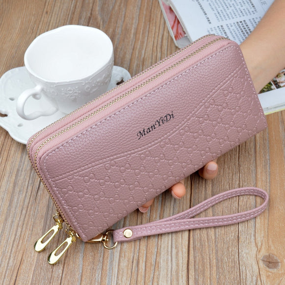 2020 new women's wallet long large capacity double zipper hand wallet women's double layer hand grab bag Fashion Wallet