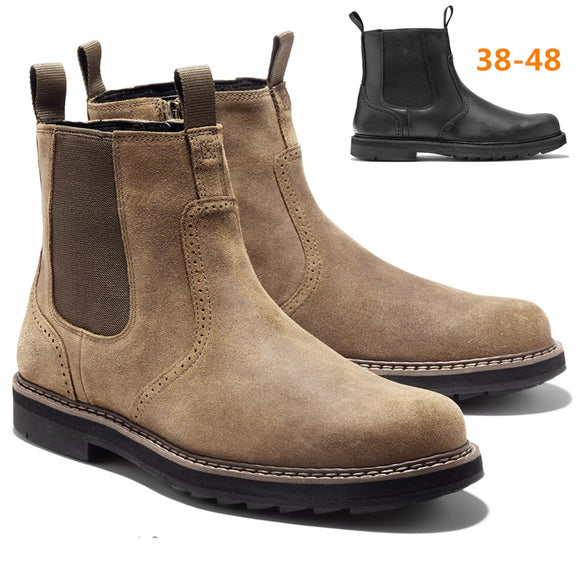 2021 Men Shoes Autumn Winter Boots Retro Leather Ankle Boots Casual Boots High-top Shoes For Men Wear-resistant Office Boots  MartLion