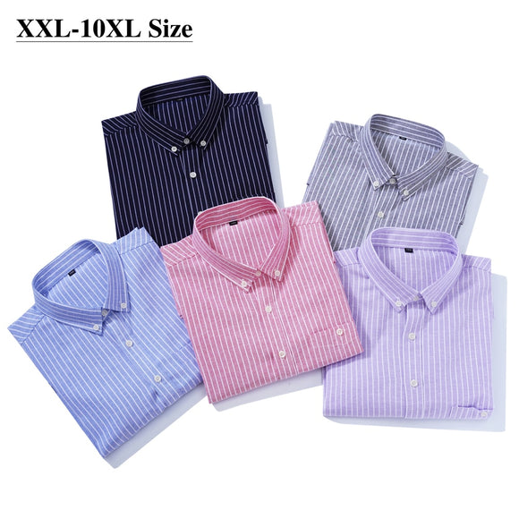 2021 Summer Men's Short-sleeved Shirt Plus Size 7XL 8XL 9XL 10XL Brand Pink Loose Casual Striped Business Work Shirts Male