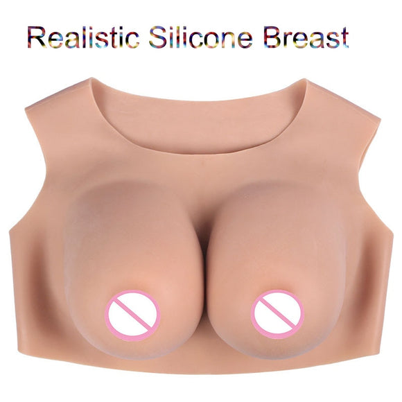 Realistic Silicone Breast Forms Fake Boobs Tits Meme Enhancer Low Collar Forms for Crossdresser Drag Queen Shemale