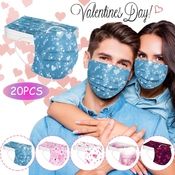 20pc Adult Disposable Masks Halloween Cosplay Mondmasker Love Heart 3 Layer Breathable Face Maskmondkapjes masque Mascarillas